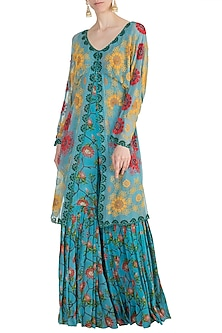 Sky Blue Printed Sharara Jumpsuit by Nupur Kanoi