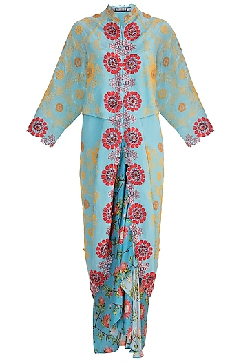 Sky Blue Printed Kite Jacket With Skirt by Nupur Kanoi