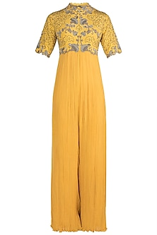 Yellow Floral Gathered Jumpsuit by Nupur Kanoi