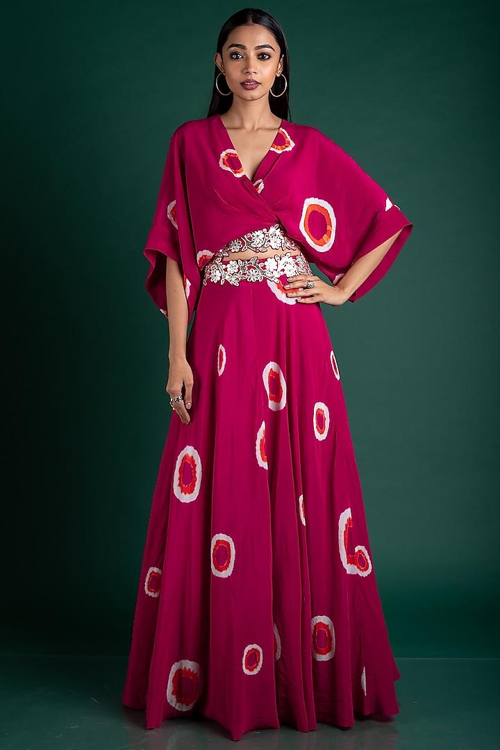 Rani Pink Polka Dotted Skirt Set by Nupur Kanoi