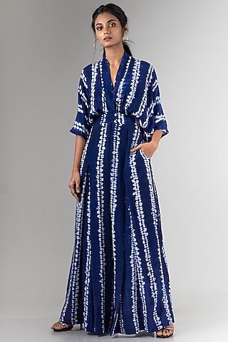 Navy Blue Shibori Kimono Jumpsuit by Nupur Kanoi