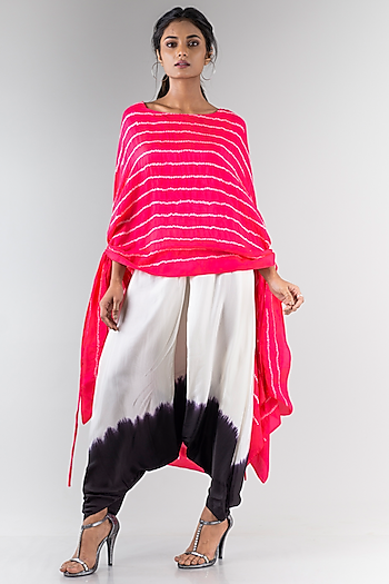 Coral Bandhani Dupatta Top With Dhoti by Nupur Kanoi