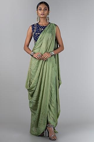 Midnight Blue & Pista Green Pre-Draped Saree Set by Nupur Kanoi