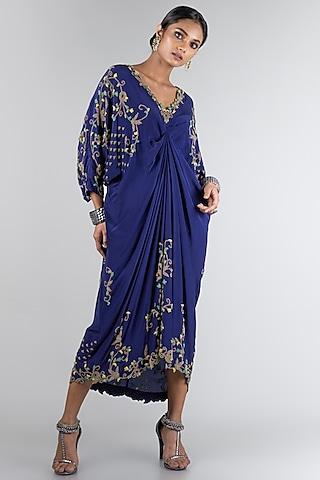 Midnight Blue Draped Dress by Nupur Kanoi
