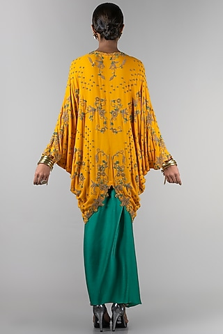 Mustard Embroidered Jacket With Skirt by Nupur Kanoi