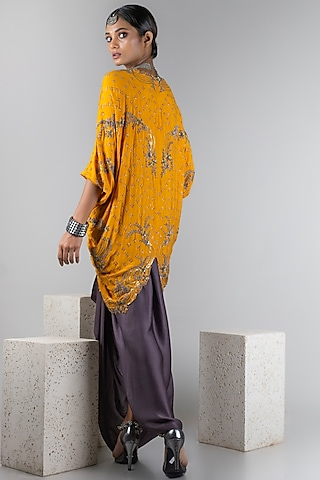 Mustard Jacket With Grey Skirt by Nupur Kanoi