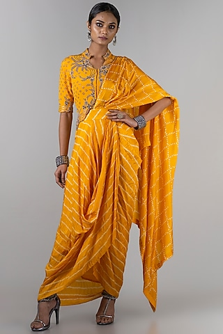 Mustard Pre-Draped Saree Set by Nupur Kanoi