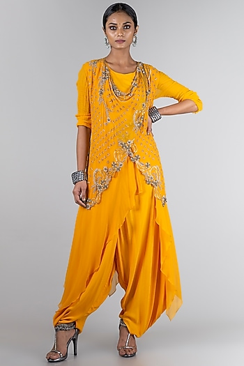Mustard Jumpsuit With Waistcoat by Nupur Kanoi
