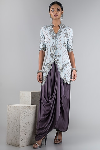 Powder Blue Jacket With Pants by Nupur Kanoi
