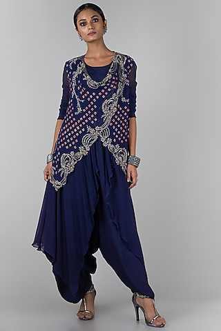 Midnight Blue Jumpsuit With Embroidered Waistcoat by Nupur Kanoi