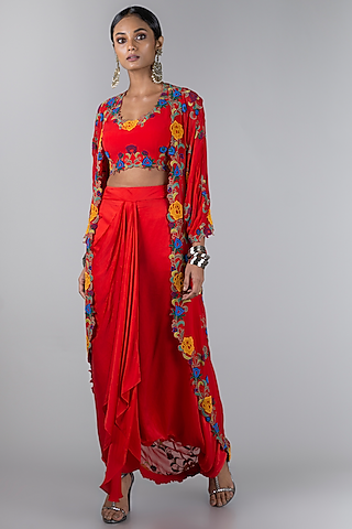 Red Embroidered Jacket Set by Nupur Kanoi
