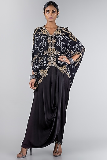 Black Embroidered Jacket With Skirt by Nupur Kanoi