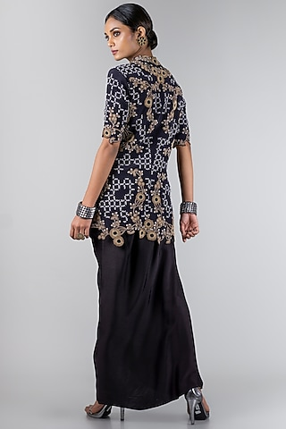Black Jacket With Dhoti Pants by Nupur Kanoi