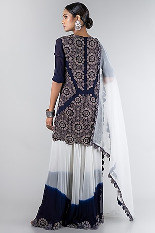 Midnight Blue & White Sharara Set by Nupur Kanoi