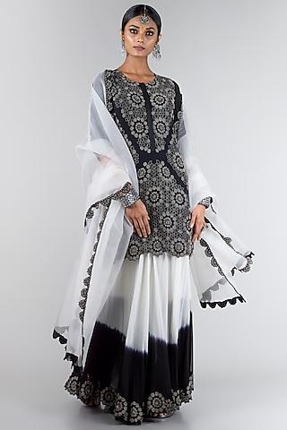 Black Embroidered Sharara Set by Nupur Kanoi