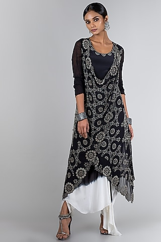Black & White Embroidered Jacket Set by Nupur Kanoi