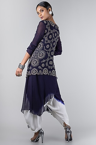 Midnight Blue & White Jumpsuit With Waistcoat by Nupur Kanoi