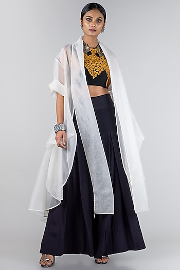 Mustard & White Embroidered Jacket Set by Nupur Kanoi