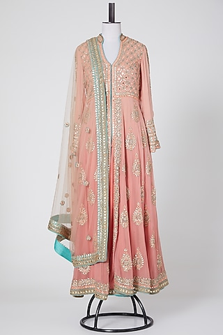 Peach Embroidered Jacket Set by Nikita Gujral