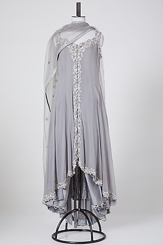 Grey Embroidered Jacket Set by Nikita Gujral