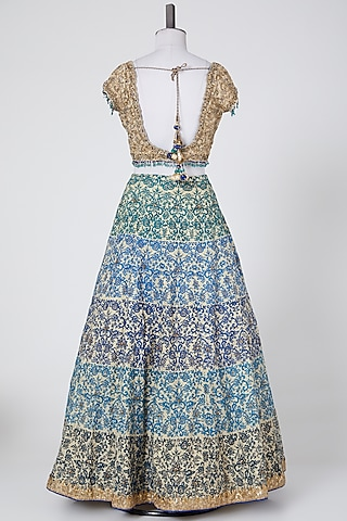 Cobalt Blue & Gold Embroidered Lehenga Set by NITIKA GUJRAL