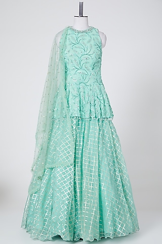 Mint Green Embroidered Lehenga Set by NITIKA GUJRAL