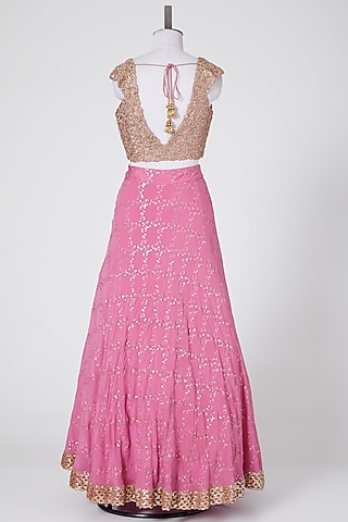 Pink Embroidered Lehenga Set by NITIKA GUJRAL