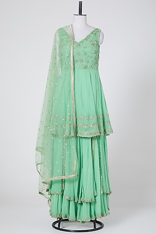 Jade Green Embroidered Gharara Set by NITIKA GUJRAL