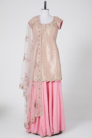 Blush Pink Embroidered Sharara Set by NITIKA GUJRAL