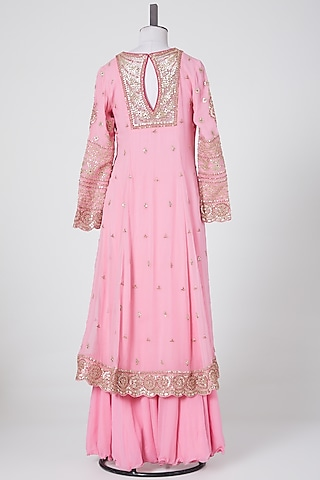 Pink Embroidered Sharara Set by NITIKA GUJRAL