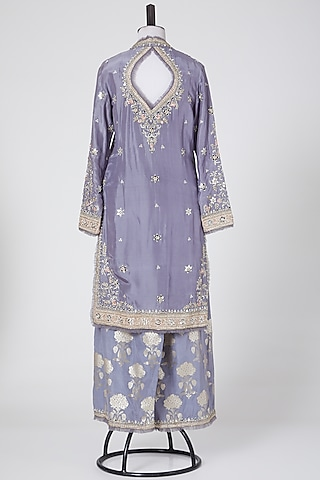 Grey Embroidered Kurta Set by NITIKA GUJRAL
