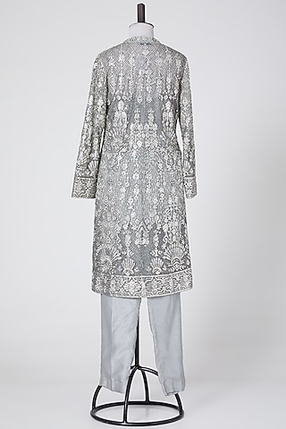 Grey Embroidered Jacket Set by NITIKA GUJRAL