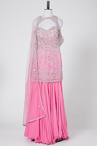 Fuchsia Ombre Embroidered Sharara Set by NITIKA GUJRAL