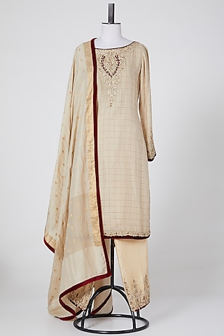 Beige Embroidered Sharara Set by NITIKA GUJRAL