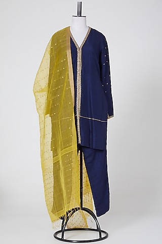 Navy Blue & Yellow Embroidered Kurta Set by NITIKA GUJRAL