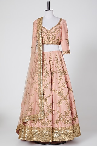 Peach Embroidered Lehenga Set by NITIKA GUJRAL