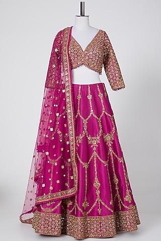 Magenta Embroidered Banarasi Lehenga Set by NITIKA GUJRAL