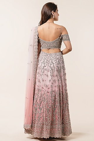 Rose Pink Ombre Embroidered Lehenga Set by NITIKA GUJRAL