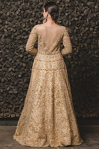 Golden Embroidered Gown With Dupatta by NITIKA GUJRAL