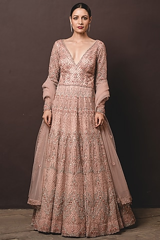 Peach Embroidered Gown With Dupatta by NITIKA GUJRAL