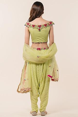 Lime Green Printed Dhodi Set by NITIKA GUJRAL