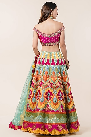 Multi Colored Hand Embroidered Lehenga Set by NITIKA GUJRAL