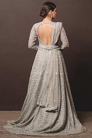 Grey Sequin Embroidered Gown With Dupatta by NITIKA GUJRAL