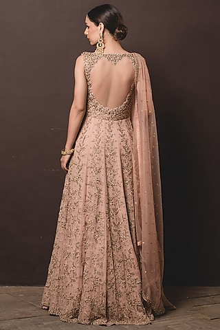 Tea Rose Embellished Gown With Dupatta by NITIKA GUJRAL