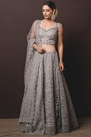 Silver Embroidered Lehenga Set by NITIKA GUJRAL