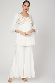 White Embroidered Top With Pants by Nayna Kapoor