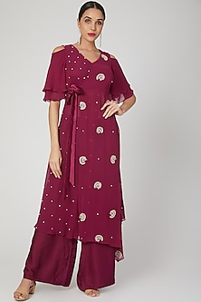 Maroon Embroidered Kurta With Pants by Nayna Kapoor