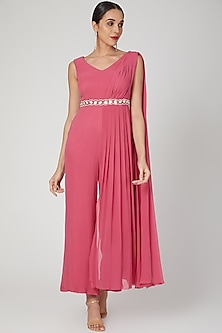 Pink Draped Jumpsuit With Belt by Nayna Kapoor