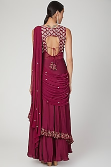 Maroon Draped & Embroidered Saree Set by Nayna Kapoor