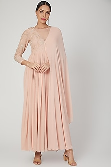 Blush Pink Embroidered Anarkali With Drape by Nayna Kapoor